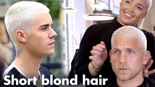 Justin Bieber Short Blond Hair Platinum Skinfade Hairstyle For Men Youtube