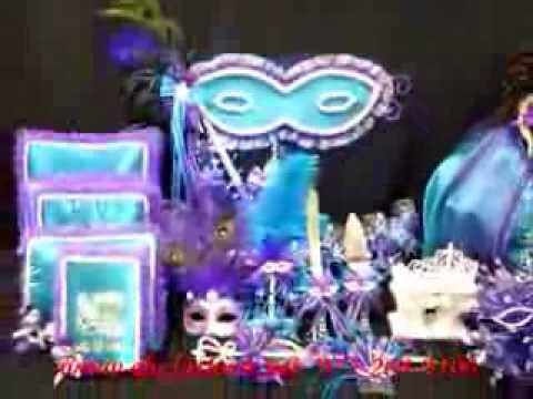 Quinceanera Centerpiece Mask or Masquerade Theme in Purple and