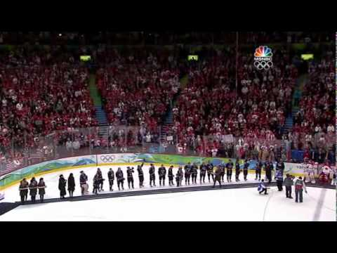 Crowd chants USA during medal ceremony, 2010 Olympics