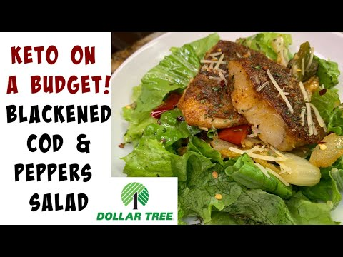 keto-blackened-cod-&-peppers-salad-|-dollar-tree-keto-meals!