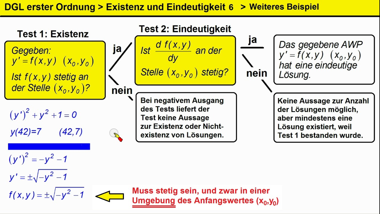 Dgl 1 Ordnung Existenz Und Eindeutigkeit 6 Beispiel Ohne Awp Losung Youtube