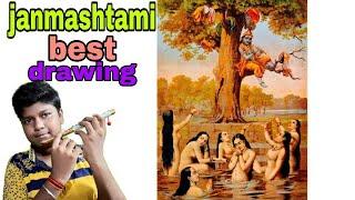 Janmashtami drawing// best ever in hindi janmashtami special drawing