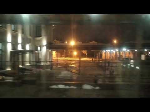 Рыбинск. Поезд №347/348 Санкт-Петербург - Уфа, стоянка и отправление со станции Рыбинск.