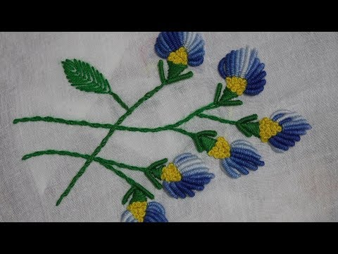 hand-embroidery-:-bullion-knot-stitch-/-portuguese-knotted-stem-stitch