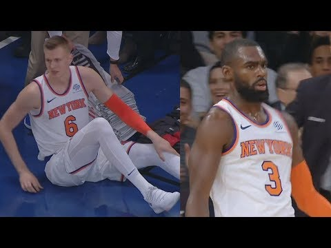 Kristaps Porzingis Injury, Shot Clock Cheese Alley Oop! Heat vs Knicks 2017-18 Season