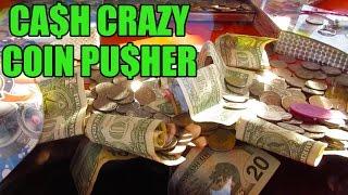 COIN PUSHER FILLED W/CASH MONEY! CARNIVAL GAME | FAIR FUN | BATTLE ARCADE