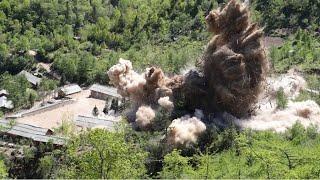 北朝鮮が爆発映像公開 核実験場「破壊」と