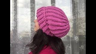 Модная шапка спицами для начинающих.