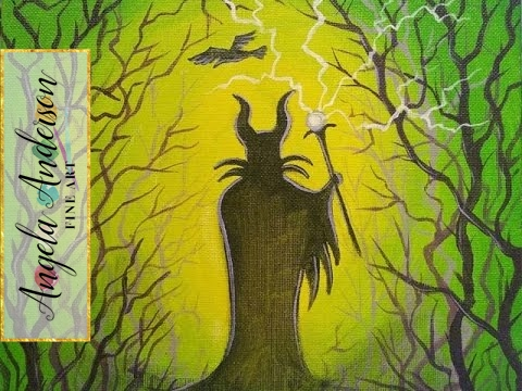 Maleficent Disney Villains Art Crawl Easy Acrylic Painting Tutorial Wickedcreative Silhouette
