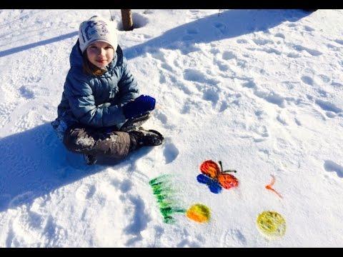 красками на снегу