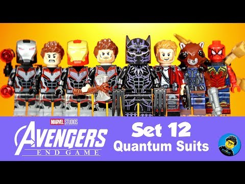 Avengers Endgame Set 12 Quantum Suits Unofficial Lego Minifigures Black Panther Iron Man Spider-Man