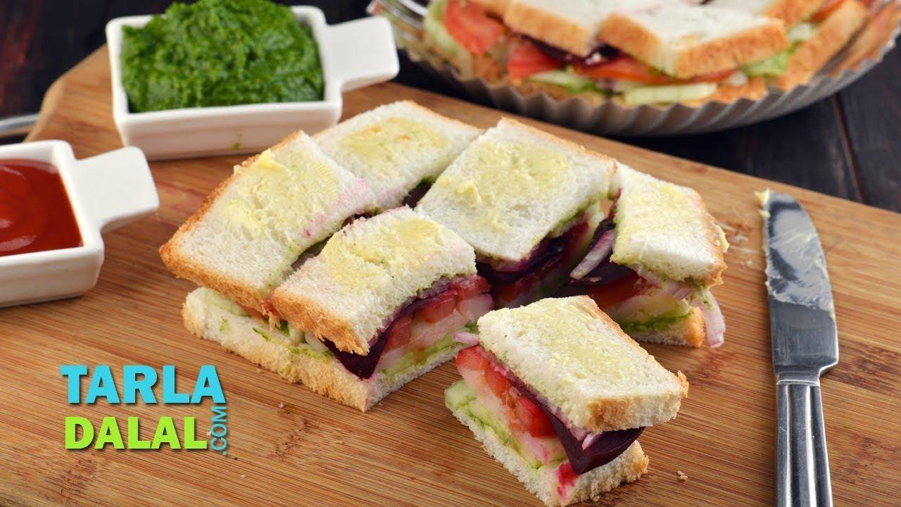 Vegetable sandwich mumbai roadside recipes by tarla dalal youtube forumfinder Choice Image