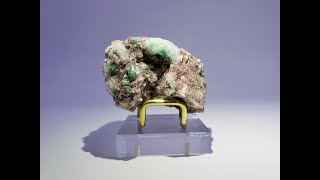 Gypsum coated Brochantite on Dolomite Mineral Specimen from Touissit, Touissit-Bou Beker, Morocco
