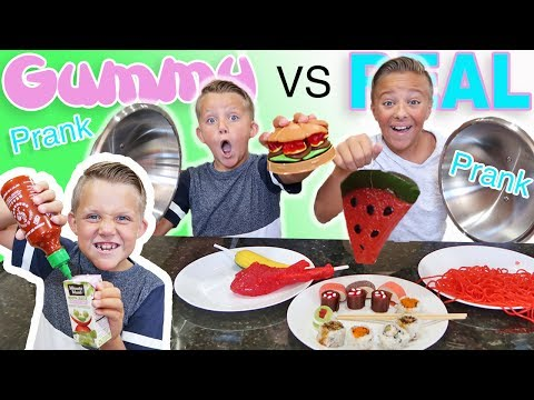 Thumbnail: Gummy Food vs Real Food Switch Up Challenge PRANK! Kids React to Trying Gummi Candy & Real Food