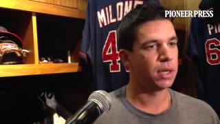 "Video: Tommy Milone on feeling a little ""stiff"" after 6-run second for #MNTwins"