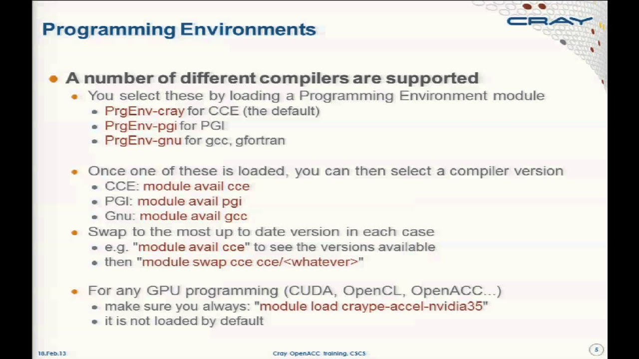 "I: ""Introduction to OpenACC and CUDA Programming on the Cray"