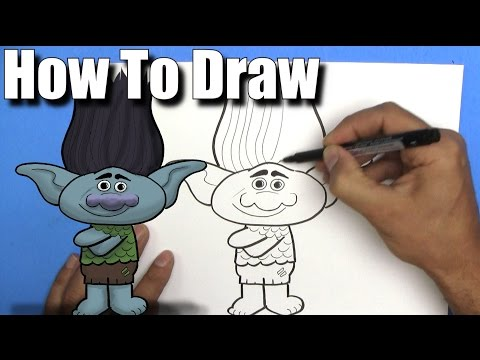 How To Draw Branch from The Trolls Movie - EASY- Step By Step