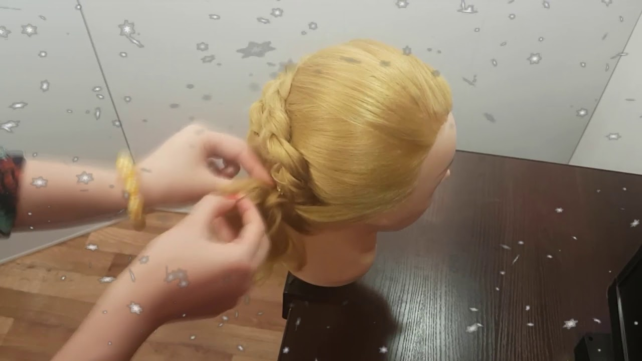 прическа праздничная красивая коса с жгутами прически в школу вечерняя причёска