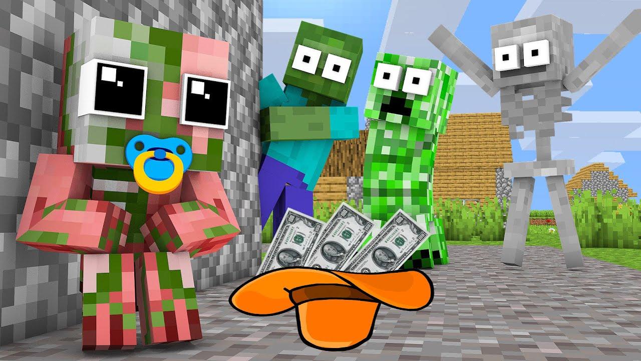 Monster School : POOR ZOMBIE PIGMAN LIFE CHALLENGE - Minecraft Animation