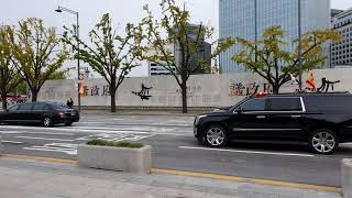 Motorcade of Spanish King Felipe VI and Queen Letizia in Seoul, Korea