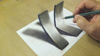 How to Draw 3D Letter K - Trick Art on Paper - With Charcoal Pencils - VamosART