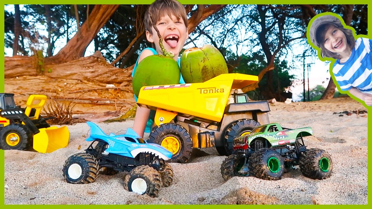 Monster Trucks And Construction Trucks Harvest Wiild Coconuts In Maui Youtube