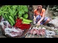 Grilled Squid for Lunch food ideas – Cooking Squid with Peppers and Salad for Eating delicious Ep 22