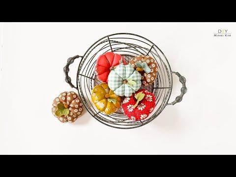 How to make pumpkin pincushion /DIY fabric pumkin /호박핀쿠션 / Fall Home Decoration / Halloween sewing