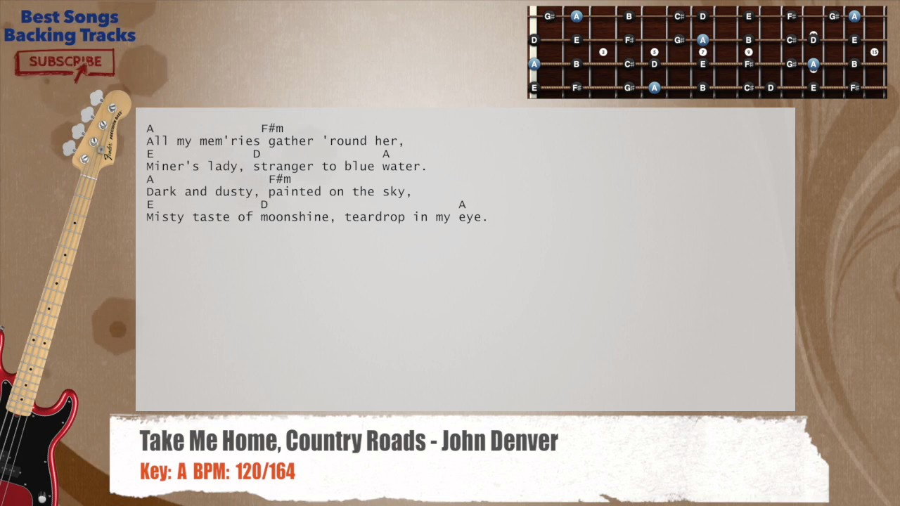Take me home country roads john denver bass backing track with take me home country roads john denver bass backing track with chords and lyrics hexwebz Image collections