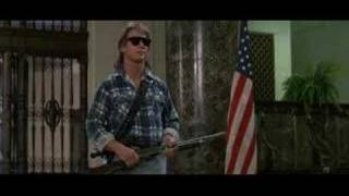 """I'm here to chew bubblegum..."" iconic scene from the They Live (1988) movie thumbnail"