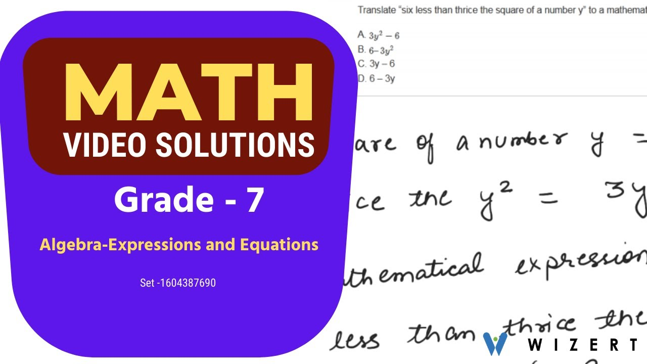 Grade 7 Math Tests - Maths Algebra (Expressions And Equations) worksheets  for Grade 7-Set 1604387690 - YouTube [ 720 x 1280 Pixel ]