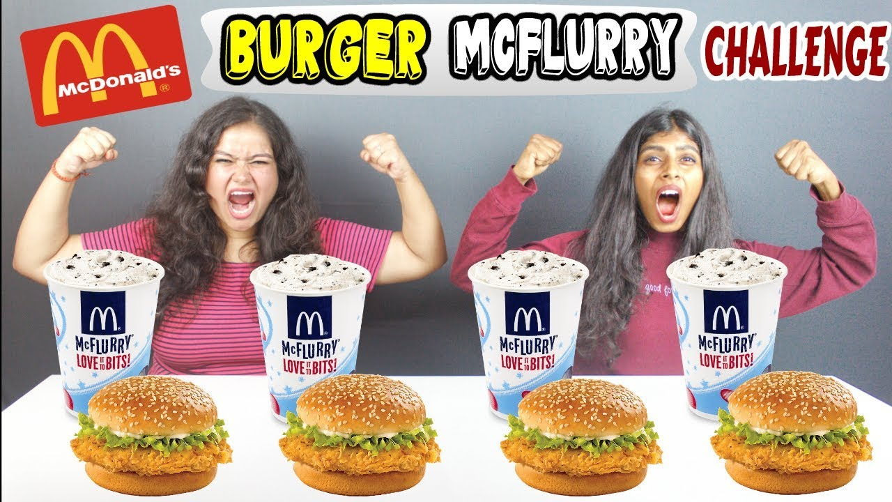 mcdonald's burger mcflurry eating challenge  burger
