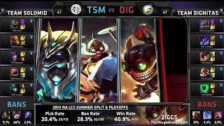TSM vs Dignitas Game 1 | Quarter Finals NA LCS Summer 2014 Playoffs | TSM vs DIG S4 Worlds Regionals