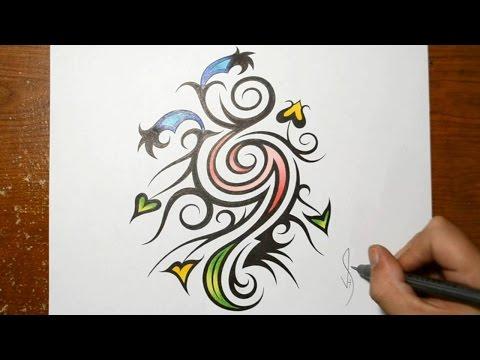 Designing a Tribal Art Nouveau Style Flower Design Pattern