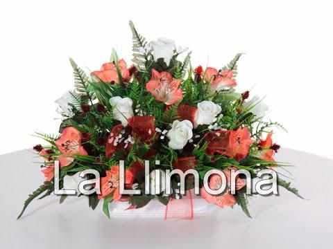 Arreglos florales jardinera cer mica alstroemeria y - Como hacer centro de flores artificiales ...
