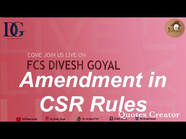 Webinar- Amendment in CSR Rules, 2021