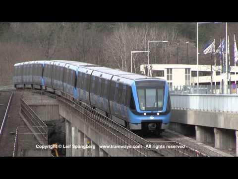 SL Tunnelbana / Metro trains at Telefonplan, Stockholm