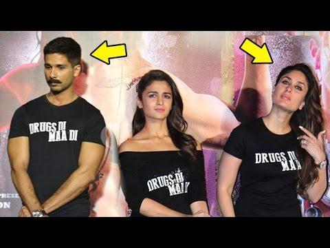 Uncomfortable Shahid AVOIDING Kareena At Udta Punjab Trailer Launch Full Video HD
