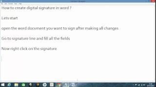 How to create digital signature in word ?