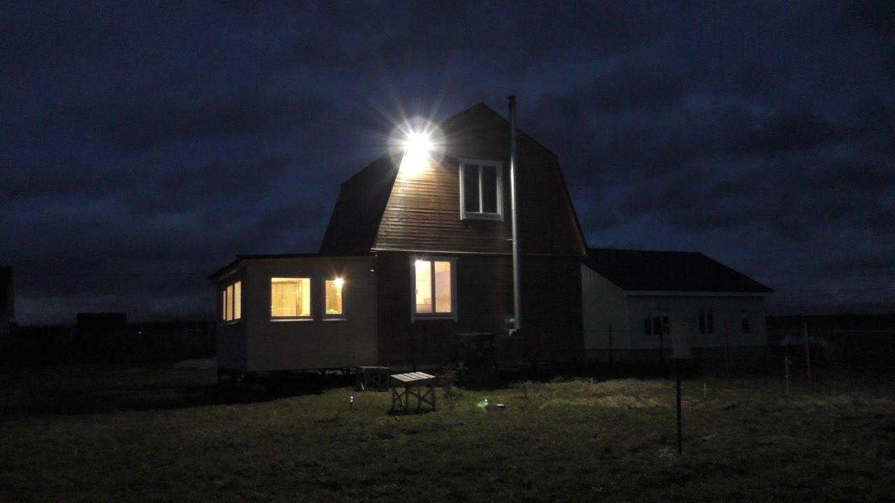 Монтаж прожектора с датчиком движения на даче