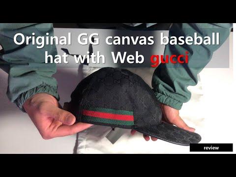 구찌 볼캡 웹(Web) 디테일의 오리지널 GG 캔버스 야구 모자 - Original GG canvas baseball hat with Web 200035 KQWBG 1060 4K