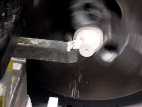 Machining a ceramic block on a lathe - YouTube