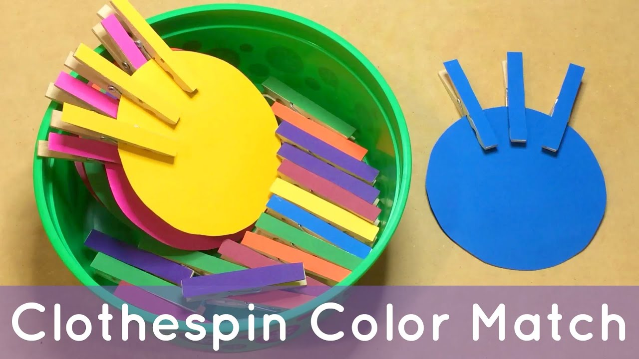 clothespin color match preschool learning activity for color recognition and fine motor development youtube - Colour Games For Preschool