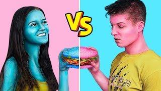 Último A Parar De Comer Alimentos Coloridos / 24 Horas De Desafio De Comida Azul vs Rosa