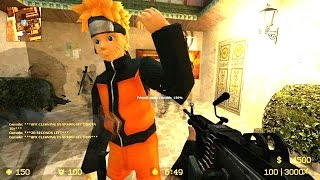 Counter Strike Source - Zombie Escape mod Multiplayer Gameplay Walkthrough on Naruto map