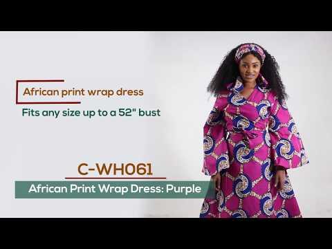 Purple African print women's wrap dress