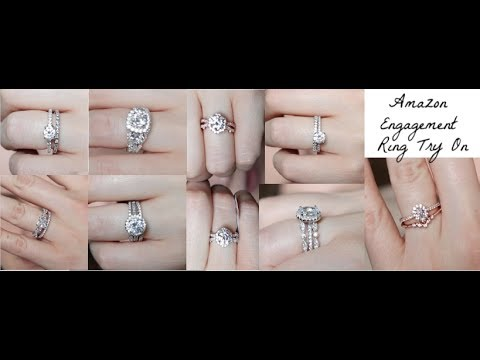 trying-on-affordable-amazon-women's-engagement-rings-+-review