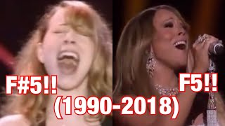 "Mariah Carey ""and it was AALLL"" Vision of love F5/F#5 Run through the years (1990-2018)"