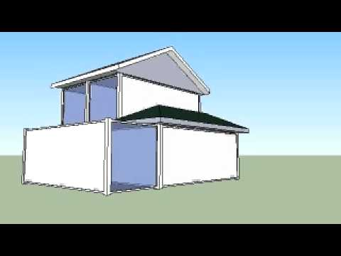 6 x 20' Containers Volumetric Study Traditional House With Roof & Dormer