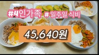 [알뜰한 식비]일주일식비 45,640원 저녁차리기/짠테…